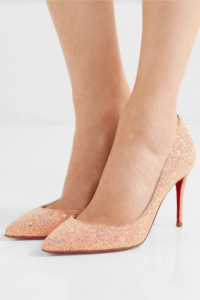 b4a5dd73e279 Christian Louboutin - Pigalle Follies 85 Glittered Leather Pumps - Baby pink