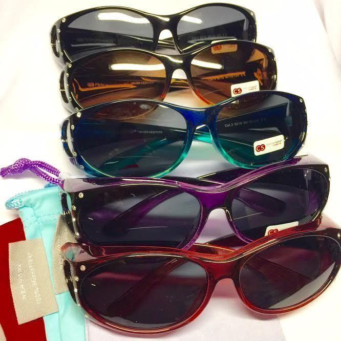 Women Fit Over Prescription Glasses Sunglasses Rhinestones Blue Shield Cover