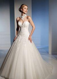 Glamoureuze Vloerlengte Mid Terug Klassieke Bruidsjurk