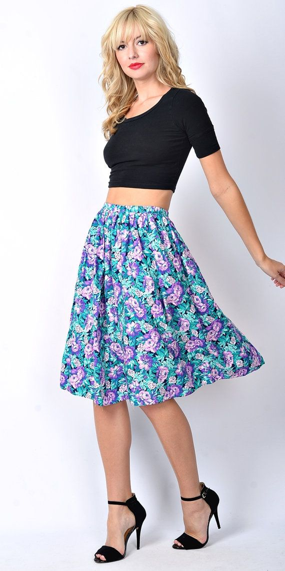 Vintage 80s Green Purple Floral Skirt dress by thekissingtree