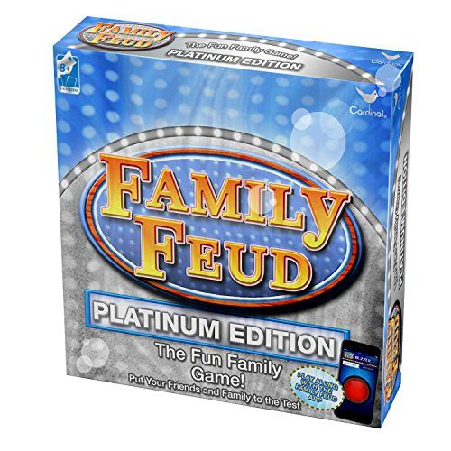 Platinum Family Feud Signature Game - Survey says…it's time to play Platinum Family Feud! Bring Family Feud home and put your family and friends to the test. Based on a national survey, Cardinal Games placed the top answers on the Face Off cards. Blurt out the most popular answers and rack up the points as you battle your way to the ...