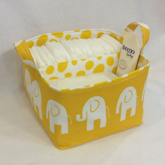 "LG Diaper Caddy 10""x10""x7"" Fabric Bin, Fabric Storage Organizer, Basket Yellow Elephant with Yellow Spot Lining"