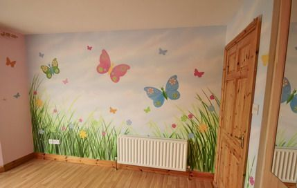 Colorful Butterfly Flowers and Garden Wall Stickers Decals Art in Wood Decorating Girls Bedroom Design Ideas