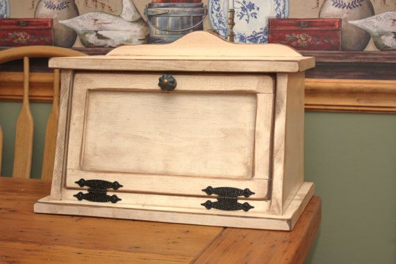 Bread Box, Shabby Chic, Wood, Kitchen, Cottage, Country on Etsy, $78.69