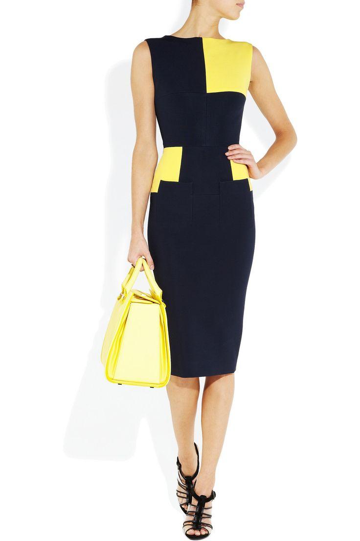 Victoria Beckham|Color-block stretch-crepe dress|NET-A-PORTER.COM