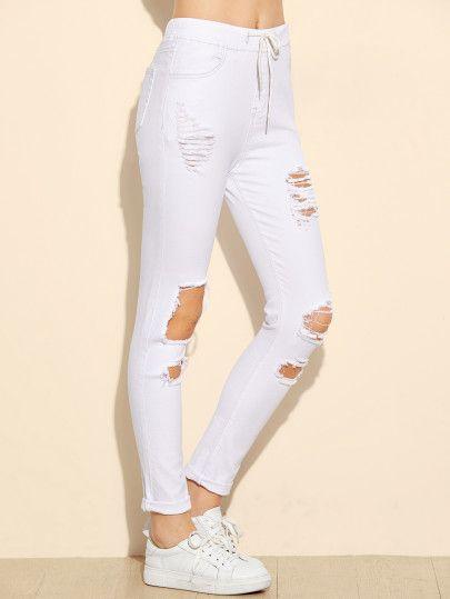 Jeans moulant rétro cordon taillé -blanc