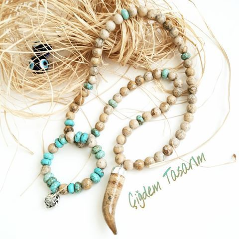 Turquoise & Agate beads & Agate Charm and Silver Charm unique jewelry bracelet & necklace by Chiki Design