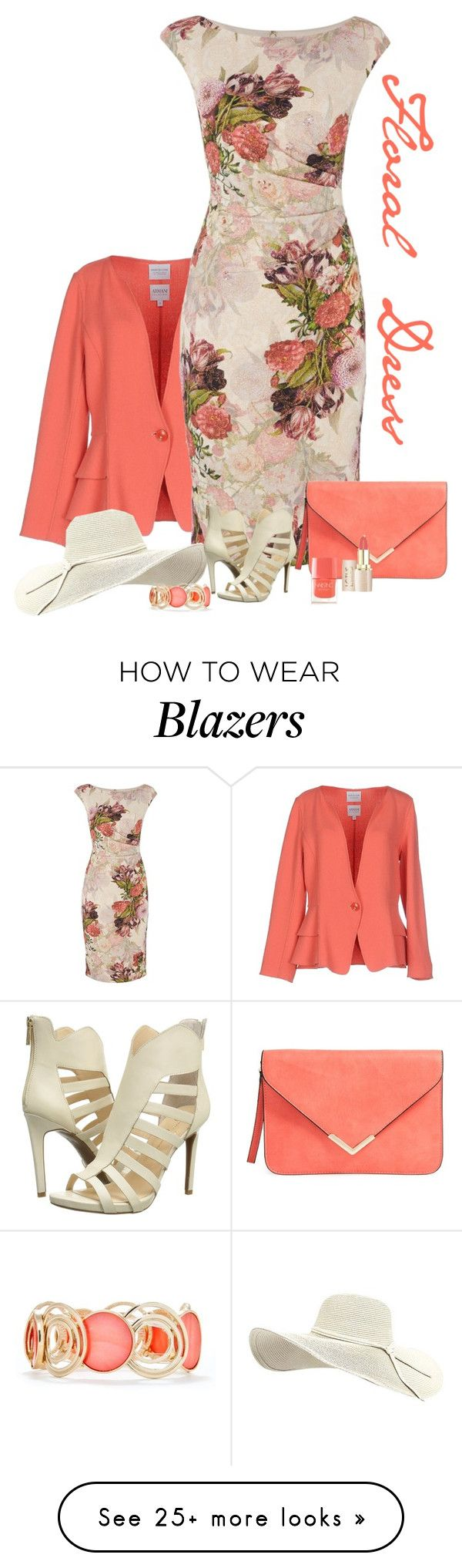 """Floral Dress For Spring"" by lorrainekeenan on Polyvore featuring Armani Collezioni, Adrianna Papell, Nails Inc., New Directions and Jessica Simpson"
