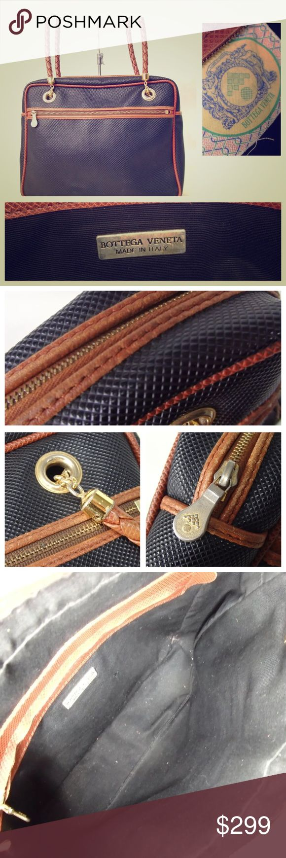 "BOTTEGA VENETA navy shoulder bag Guaranteed authentic preowned navy with gold hardware and brown signature braided straps.  In excellent used condition and is so versatile, a timeless bag that is great for year round use.  Measures 10.5 x 8 x 3"" strap 13""   Offers thru offers option only please Bottega Veneta Bags"