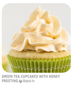 Green Tea Cupcakes with Honey Frosting from Baked In