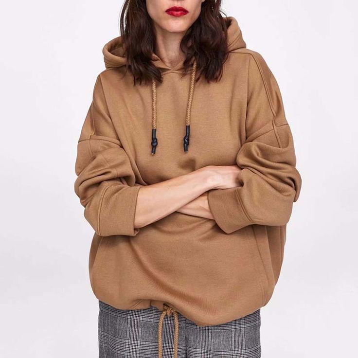 JXYSY hoodies women harajuku cotton hoodies solid patchwork pockets regular over... 15