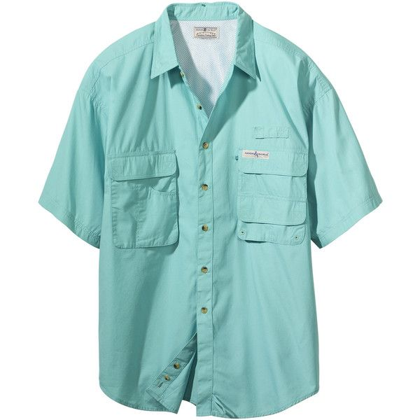 Hook tackle mens gulf stream cotton short sleeve button for Button down fishing shirts