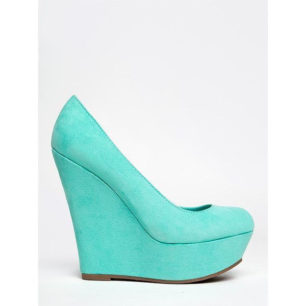 CILO-11S Wedge ($32) ❤ liked on Polyvore featuring shoes, mint, breckelles shoes, mint green shoes, wedges shoes, mint wedge shoes and wedge heel platform shoes