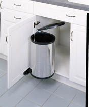 revashelf series 15 liter pivotout waste container with lid stainless steel black trash cans 1 bin pivot out