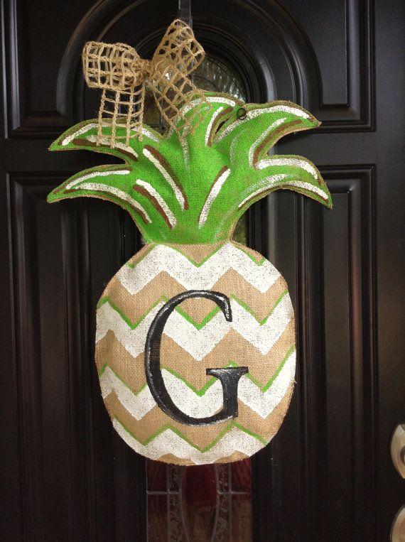 Burlap Chevron Pineapple Initial Door Hanger