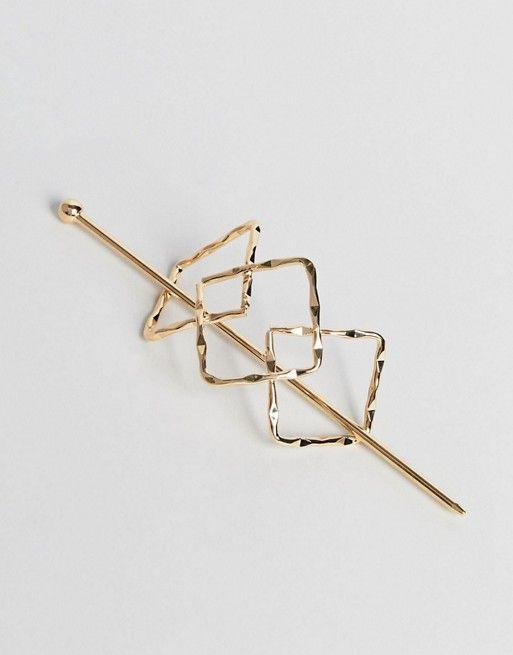 Orelia Triple Diamond Thread Through Hair Clip | Wish Bone