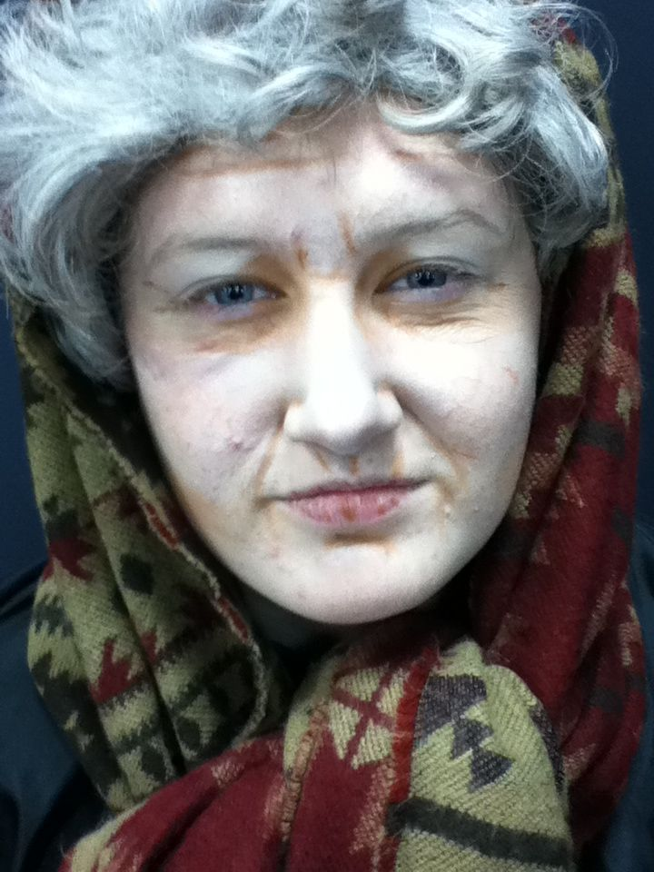 Here is an old aged makeup which I created. To create this I used a darker foundation to create wrinkles and I asked if my model would pull different faces so I could see where her natural wrinkles would go. I then used a lighter foundation to highlight the wrinkles to make them look deeper.
