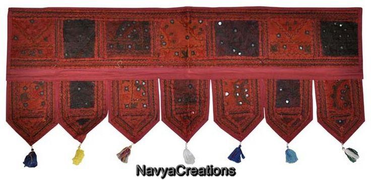 Indian Window Valance Toran Home Decor Embroidered Designer Cotton Door Hanging .