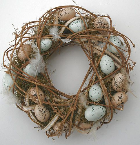 eggs and feathers wreath