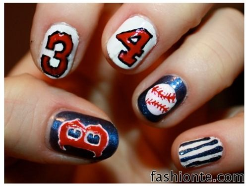 Baseball Nails with Numbers , Plain Nails with Baseball Tips | Fashion Te