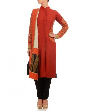 Fiery Red Suit with Zari Embroidery
