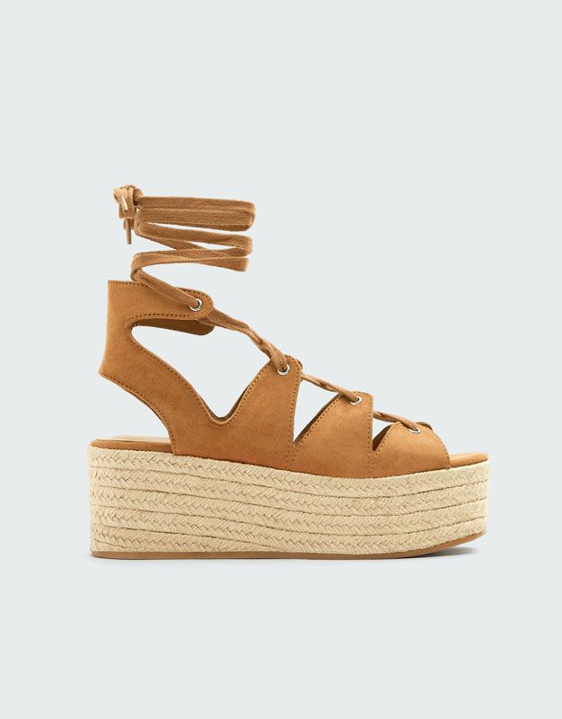 Wiazane Buty Na Koturnie Z Juty Pull Bear Espadrilles Shoes Sandal Espadrille