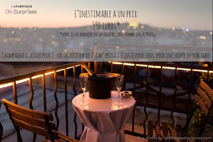 Offrez une soirée inoubliable avec cette expérience insolite à Paris ! Diner sur un rooftop  arboré de 150 m2 au coeur de Paris face à la Tour Eiffel. #cadeau #surprise #Paris #diner #romantique #amoureux #original #TourEiffel