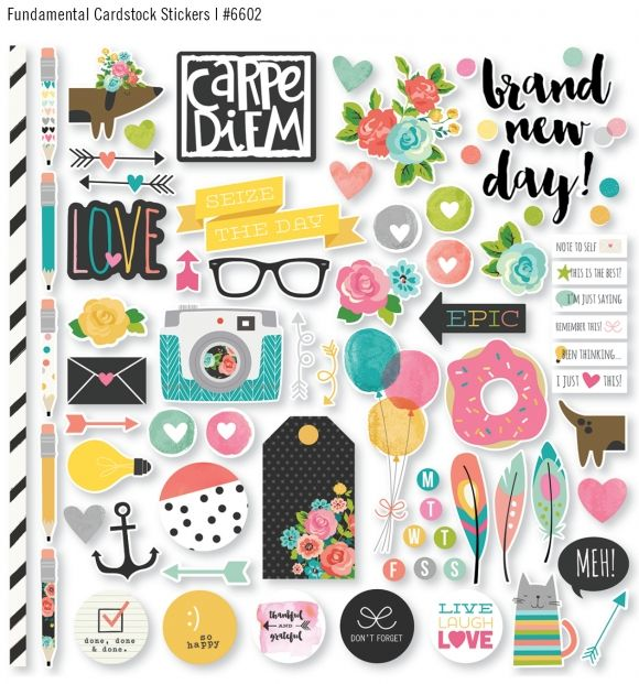 Winter 2016 Reveal Day 3 - Carpe Diem cardstock stickers #simplestories #CarpeDiemScrapbook
