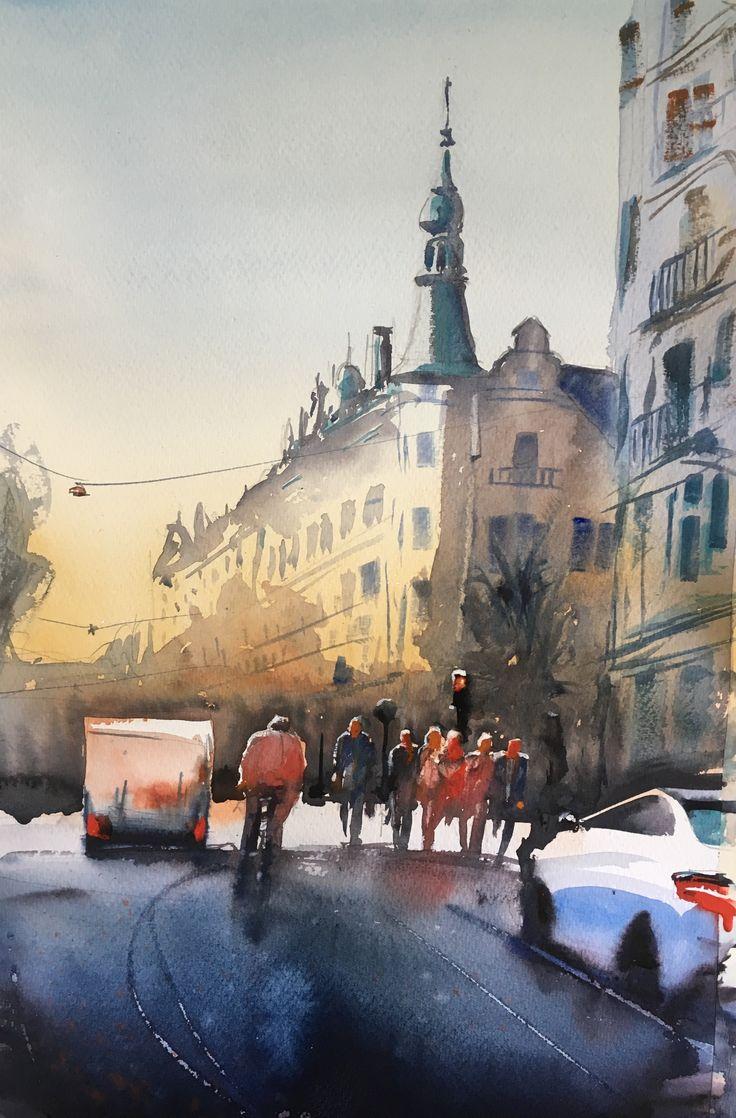 Valhallavägen, Stockholm, akvarell av Stefan Gadnell