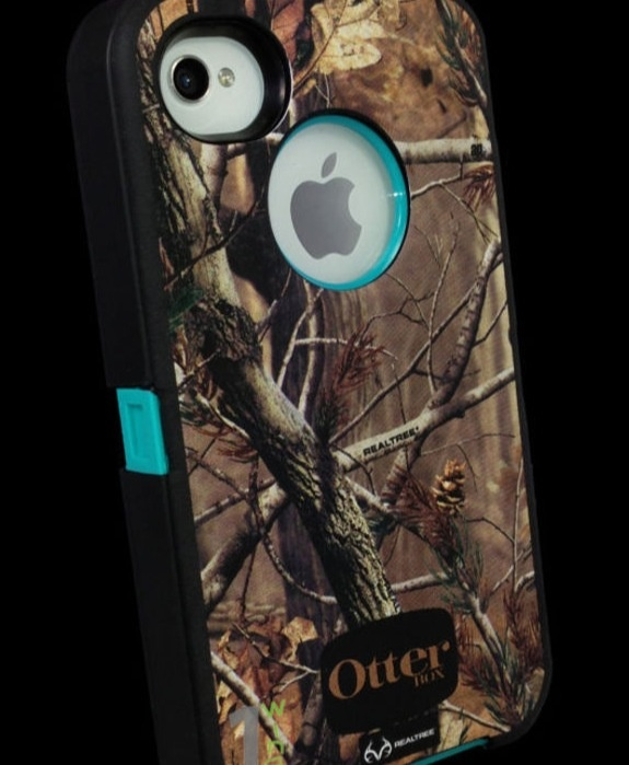 Camo and blue OtterBox iPhone 4S case