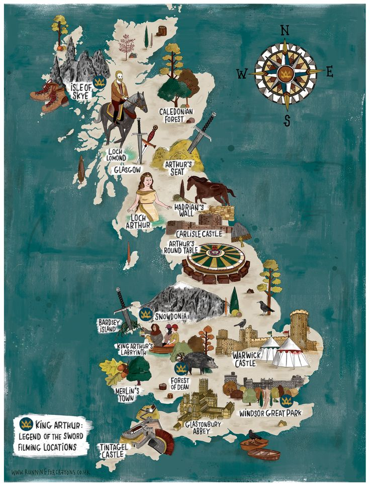 Illustrated map featuring Arthurian locations across Britain, highlighting destinations seen in Warner Brothers film King Arthur: Legend of the Sword.  #illustratedmap #kingarthur #map #drawing #england