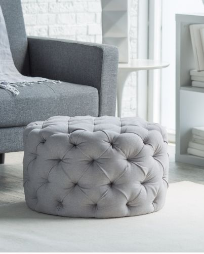 Allover tufted round ottoman in gray, sale $99