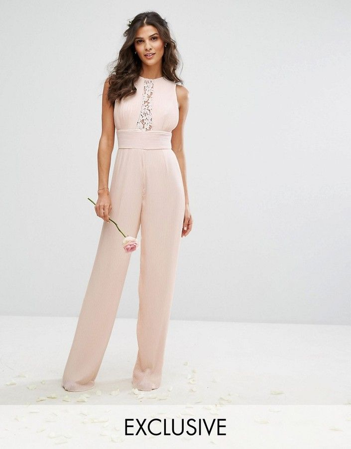 TFNC WEDDING Pleated Wide Leg Jumpsuit with Lace Insert at Asos #affiliatelink