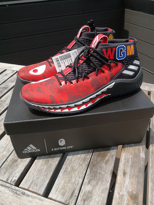 ADIDAS x BAPE Dame 4 in Red Limited...Size 10.5 (Japan Stock with Receipt)   bape  adidas  streetstyle b01e56ef7