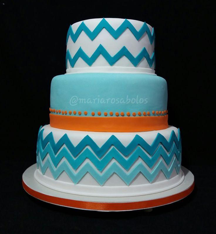 Bolo Chevron laranja e azul Tiffany