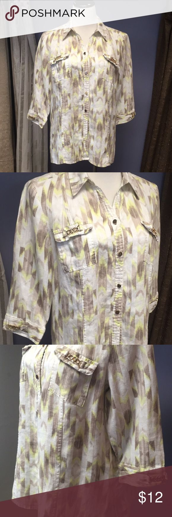 JM Collection Petite Shirt Cream & yellow top with gold accents and 3/4 length sleeves. This top can be a shirt or would make a cute thin jacket worn over a tank top JM Collection Petite Tops Button Down Shirts