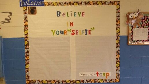 Test prep/motivation bulletin board...I am going to have the kids take selfies and add hashtags with test taking tips! #circleimportantwords