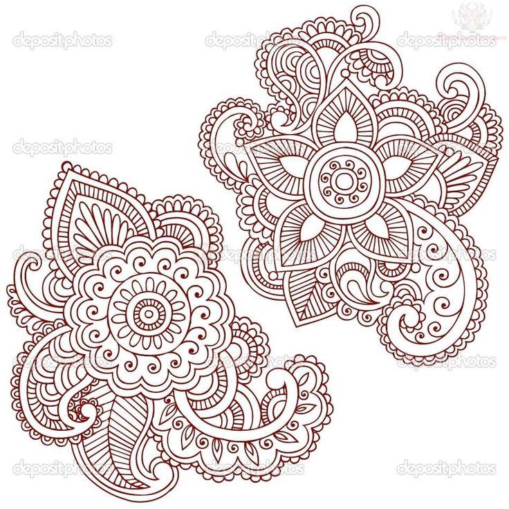 henna tattoo on neck   Henna Flower Paisley Pattern Tattoo Design