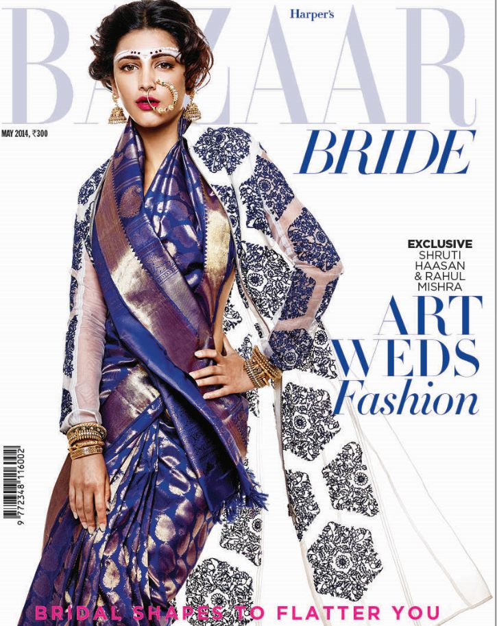 Shruti Hassan on the May Cover. Sari - Sarangi Jacket - Rahul Mishra Earrings Gehna Jewellers Nath - Jaipur Gems
