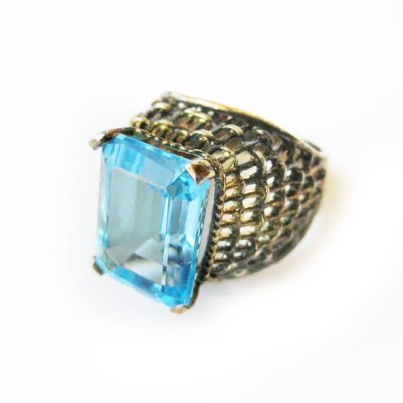 c952ef304cd38 Vintage Ring, Gold Vermeil Sterling Silver Ring, Blue Stone, Emerald ...