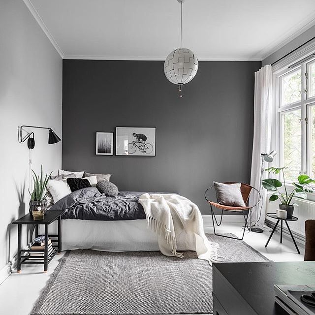 bedroom- i like the paint treatment. Would put headboard on grey wall though... thoughts? and i like the color story - its already like what Josh has and i like beautiful green outside, windows and curtains.