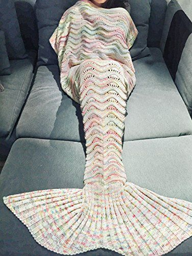 iEFiEL Meerjungfrau Fischschwanz Flosse Kuscheldecke Kuschelige Decken Handgemachte Gestrickte Sofadecke Tagesdecke Blanket Kostüm Decke Für Kinder Erwachsene (Erwachsene Größe, Grau-weiß)