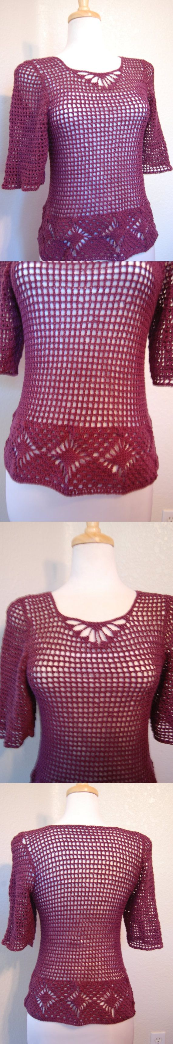 Crochet Top Mesh Aubergine Cotton size Small by LoyesThread