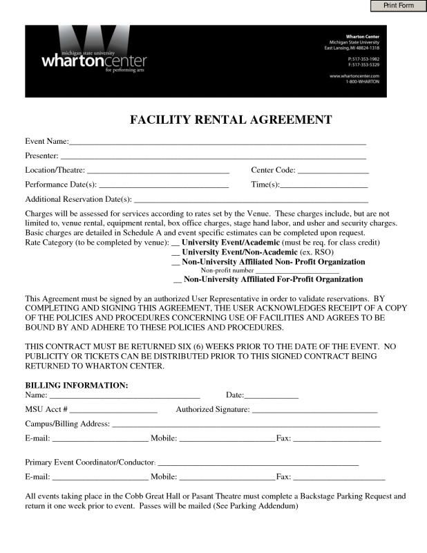 One Page Lease Agreement Template Templates Invitations