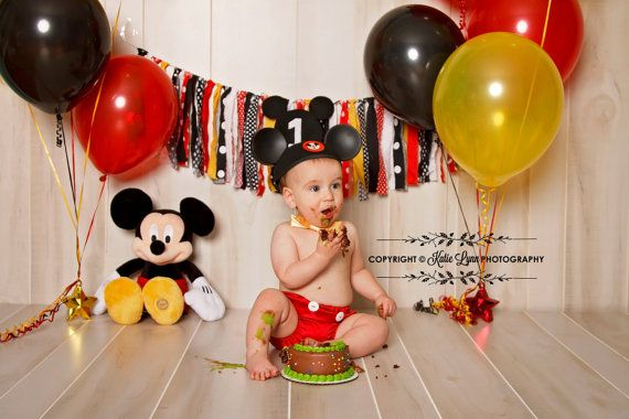 Mickey Mouse Rag Tie Banner High Chair Banner Set by backyardprims