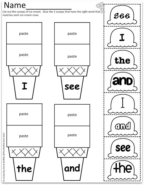 Sight Word Scoops!  Color, cut and paste!  Such a FUN, hands-on way to learn and practice sight words!