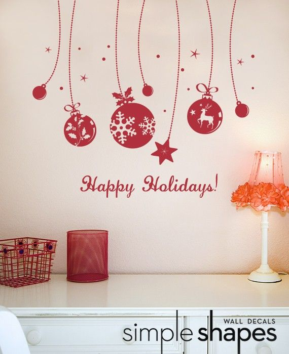 Holiday Wall Decal - Ornaments Deluxe - Happy Holidays. $42.00, via Etsy.