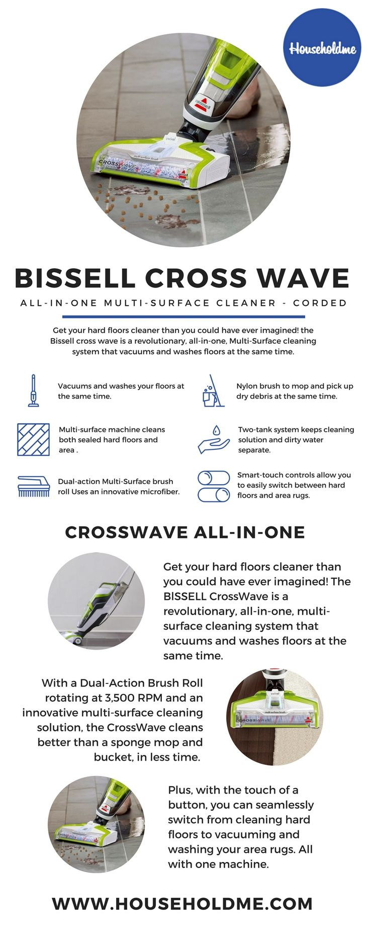 I love the Bissell CrossWave! It cleans my wood and tile floors plus my area rug. It doesn't take long at all to do my whole house!