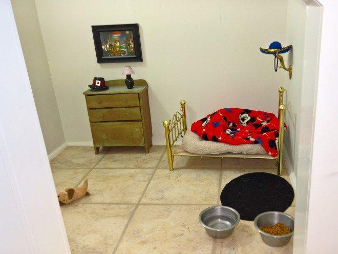 Essa mulher fez uma mini casinha para o seu chihuahua embaixo da escada.