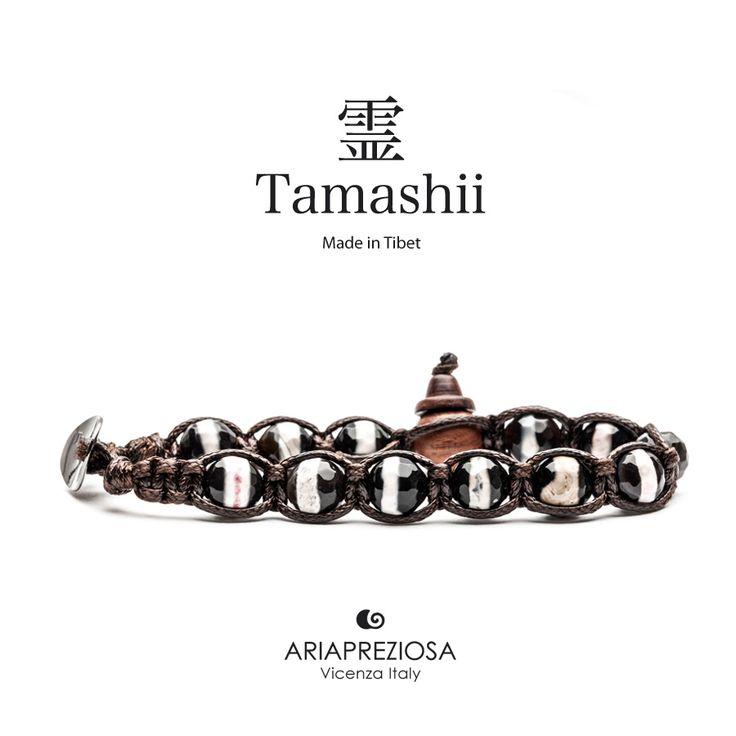 Bracciale originale Tamashii Painted realizzato con pietre naturali ONICE dipinto col. MIX COLORI.